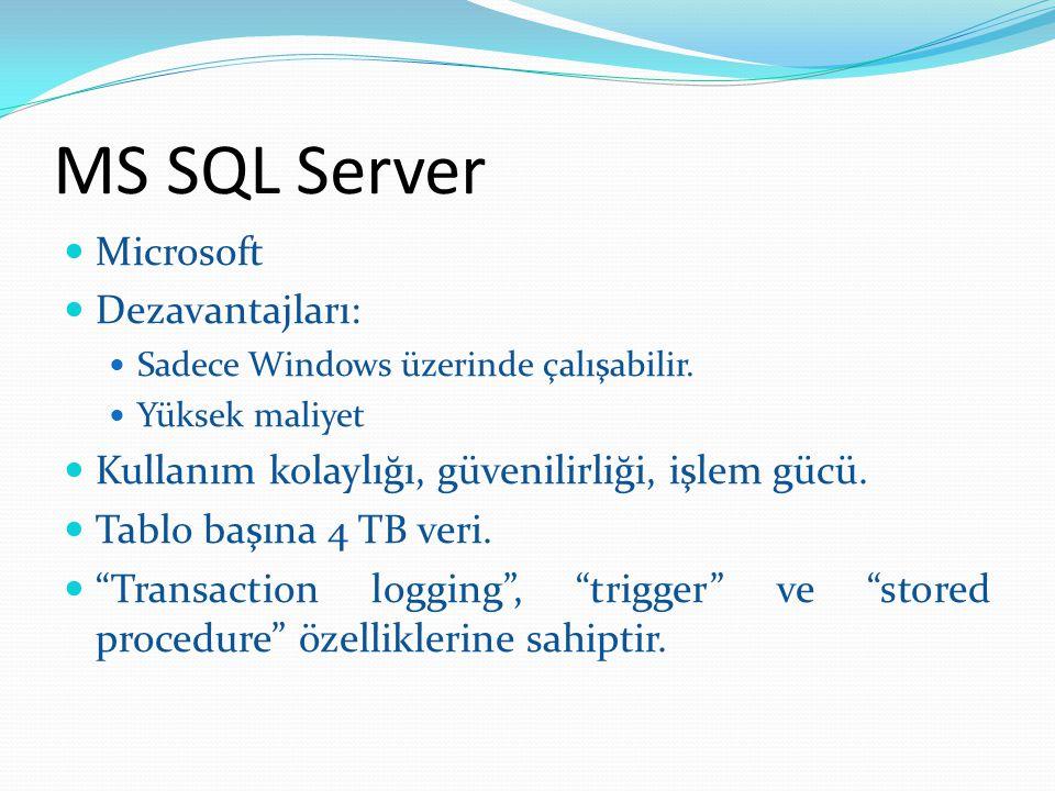 MS SQL Server Microsoft Dezavantajları: Sadece Windows üzerinde çalışabilir. Yüksek maliyet Kullanım kolaylığı, güvenilirliği, işlem gücü. Tablo başın
