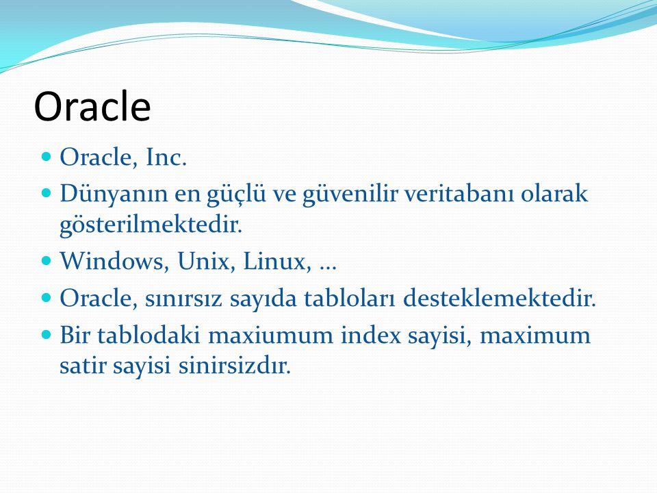 Oracle Oracle, Inc. Dünyanın en güçlü ve güvenilir veritabanı olarak gösterilmektedir. Windows, Unix, Linux,... Oracle, sınırsız sayıda tabloları dest