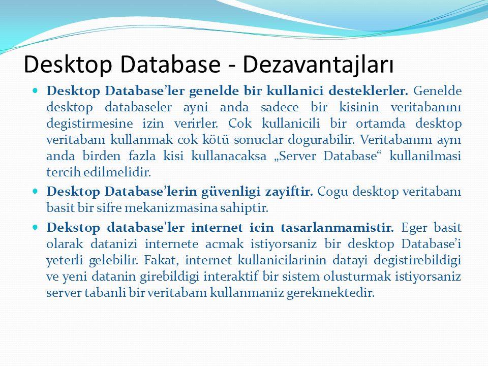Desktop Database'ler genelde bir kullanici desteklerler. Genelde desktop databaseler ayni anda sadece bir kisinin veritabanını degistirmesine izin ver