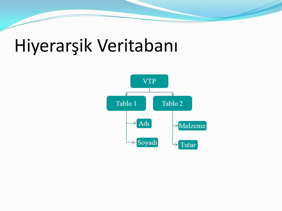 Hiyerarşik Veritabanı VTP Tablo 1Tablo 2 Adı Soyadı Adı Malzeme Tutar