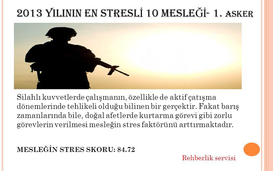 2013 YILININ EN STRESL İ 10 MESLE Ğİ - 1.