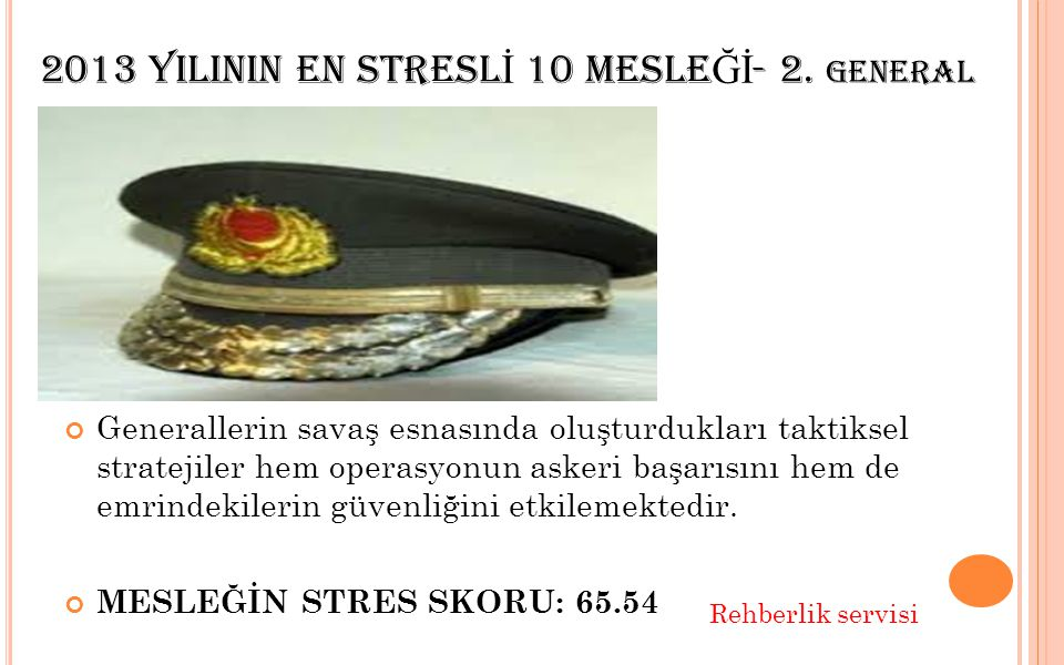 2013 YILININ EN STRESL İ 10 MESLE Ğİ - 3. İ TFAYE MESLEĞİN STRES SKORU: 60.45 Rehberlik servisi