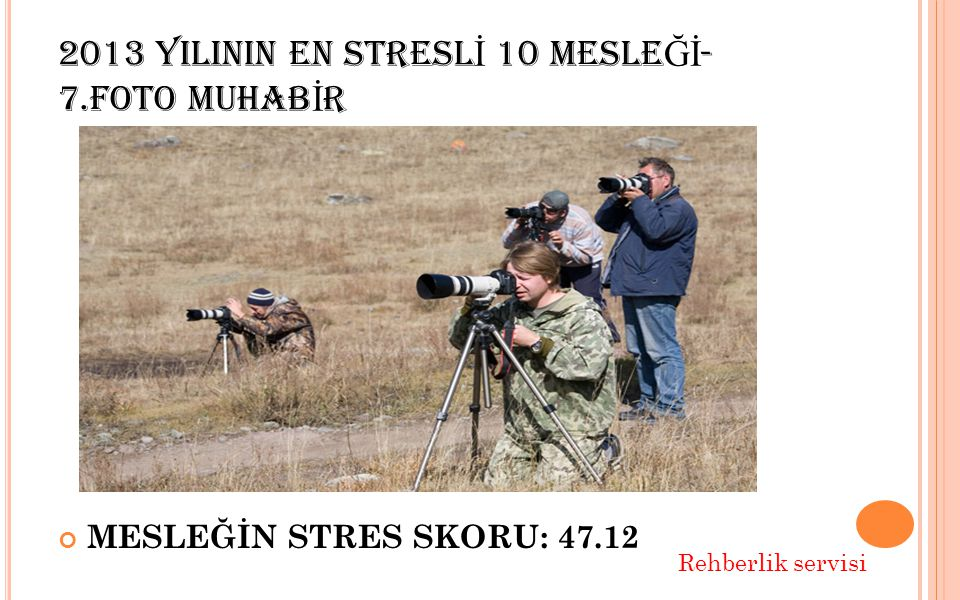 2013 YILININ EN STRESL İ 10 MESLE Ğİ - 7.FOTO MUHAB İ R MESLEĞİN STRES SKORU: 47.12 Rehberlik servisi
