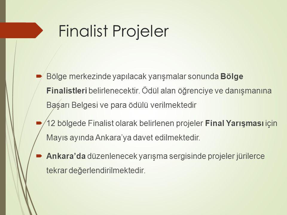 Finalist Projeler  Bölge merkezinde yapılacak yarışmalar sonunda Bölge Finalistleri belirlenecektir.
