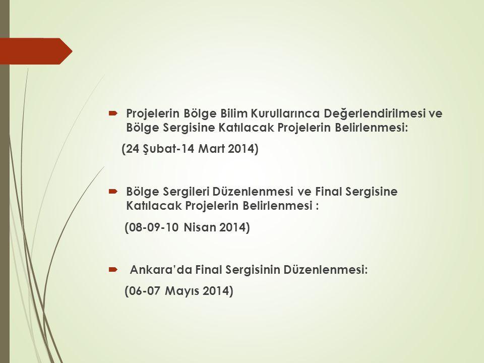  Projelerin Bölge Bilim Kurullarınca Değerlendirilmesi ve Bölge Sergisine Katılacak Projelerin Belirlenmesi: (24 Şubat-14 Mart 2014)  Bölge Sergileri Düzenlenmesi ve Final Sergisine Katılacak Projelerin Belirlenmesi : (08-09-10 Nisan 2014)  Ankara'da Final Sergisinin Düzenlenmesi: (06-07 Mayıs 2014)