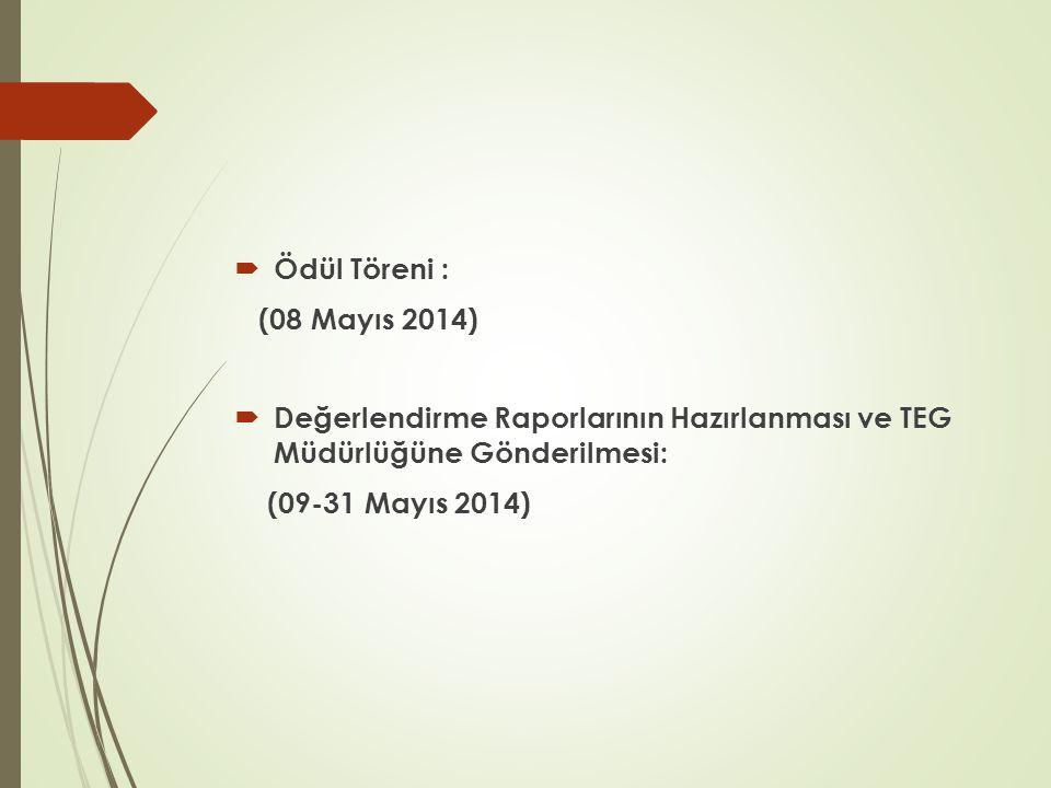  Ödül Töreni : (08 Mayıs 2014)  Değerlendirme Raporlarının Hazırlanması ve TEG Müdürlüğüne Gönderilmesi: (09-31 Mayıs 2014)
