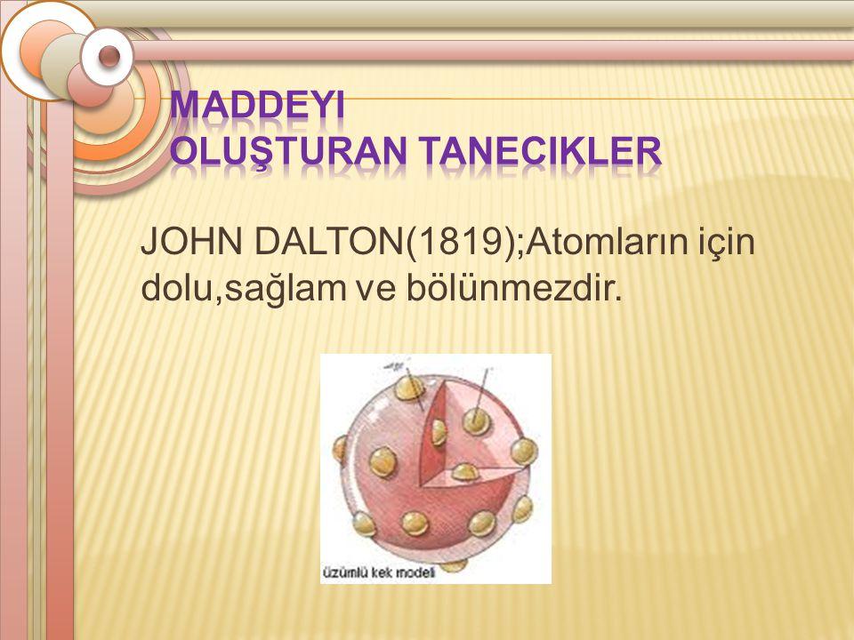 JOHN DALTON(1819);Atomların için dolu,sağlam ve bölünmezdir.