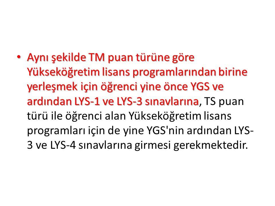 Aynı şekilde TM puan türüne göre Yükseköğretim lisans programlarından birine yerleşmek için öğrenci yine önce YGS ve ardından LYS-1 ve LYS-3 sınavlarına Aynı şekilde TM puan türüne göre Yükseköğretim lisans programlarından birine yerleşmek için öğrenci yine önce YGS ve ardından LYS-1 ve LYS-3 sınavlarına, TS puan türü ile öğrenci alan Yükseköğretim lisans programları için de yine YGS nin ardından LYS- 3 ve LYS-4 sınavlarına girmesi gerekmektedir.