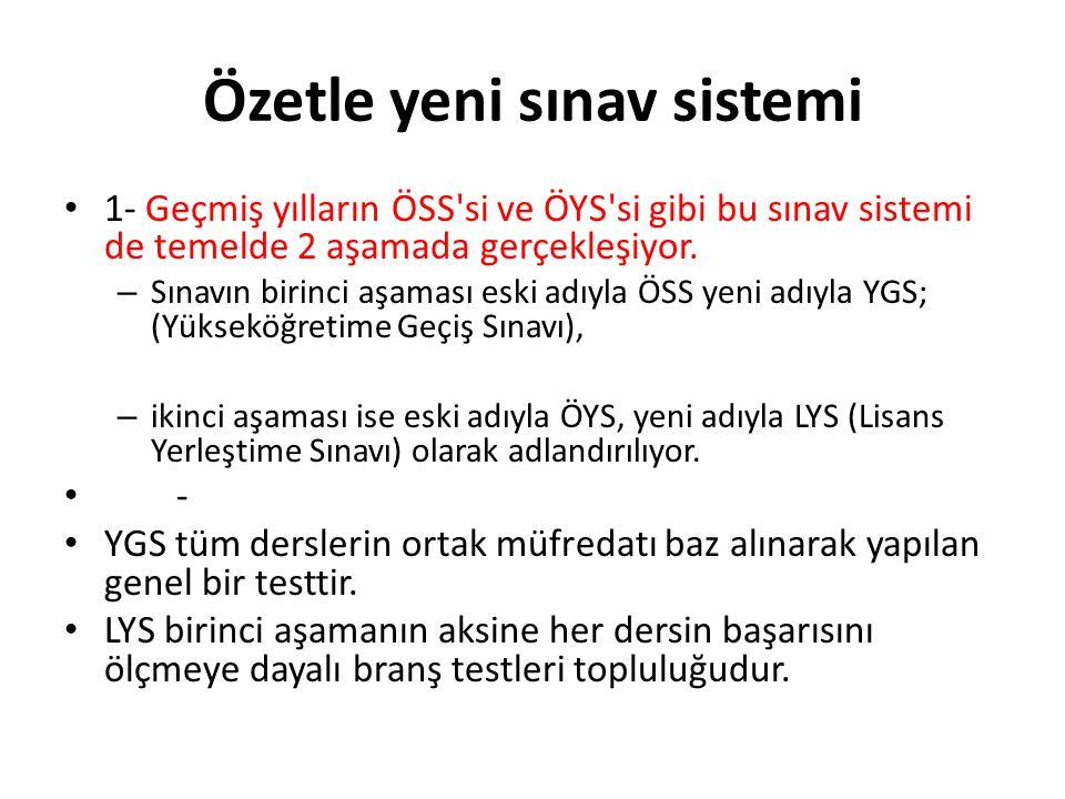 2- YGS de YGS-1-2-3-4-5-6, LYS de MF-1-2-3-4, TM-1-2-3, TS-1-2 ve DİL-1-2-3 olmak üzere tam 12 ayrı puan türü bulunmaktadır.