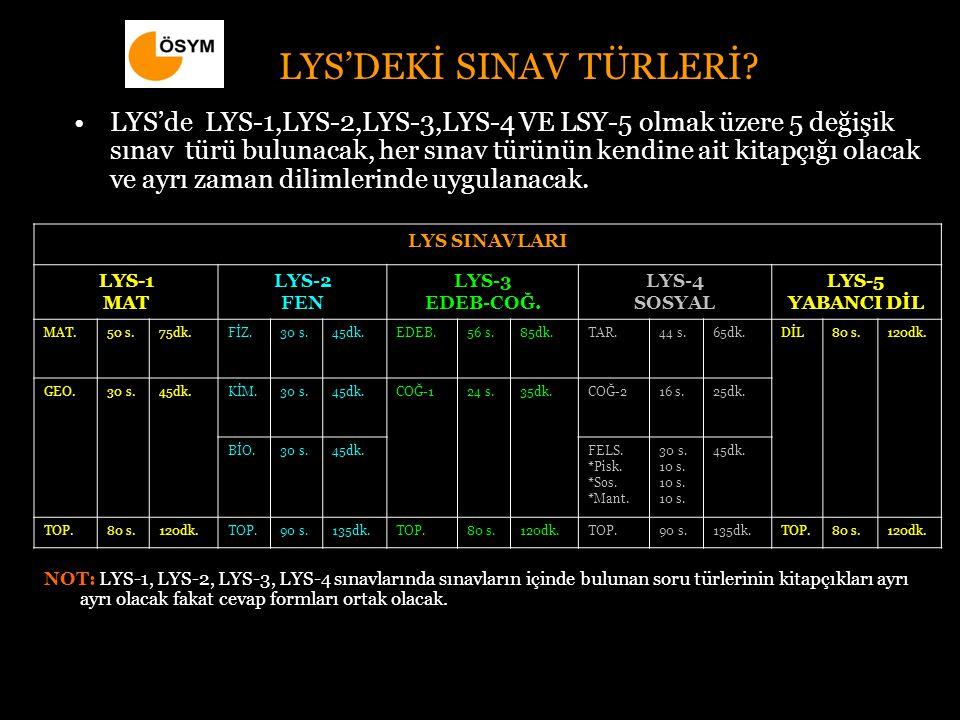 LYS'DEKİ SINAV TÜRLERİ.