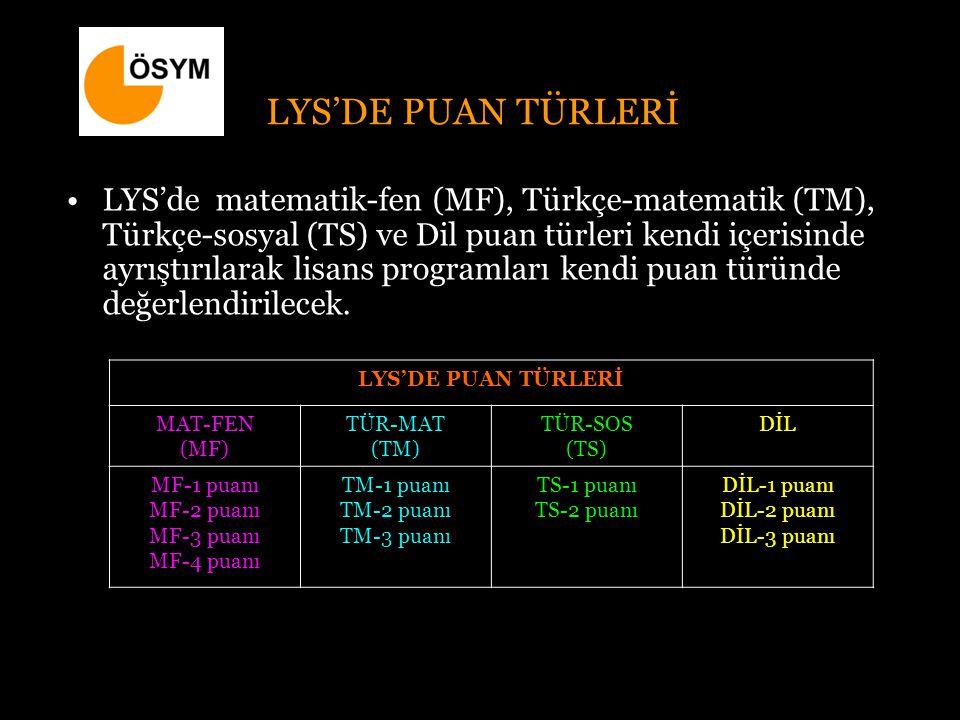 LYS'DE PUAN TÜRLERİ LYS'de matematik-fen (MF), Türkçe-matematik (TM), Türkçe-sosyal (TS) ve Dil puan türleri kendi içerisinde ayrıştırılarak lisans programları kendi puan türünde değerlendirilecek.