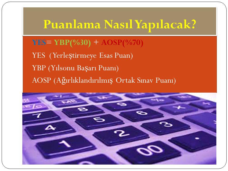 Puanlama Nasıl Yapılacak? www.kisiselbasari.com YES= YBP(%30) + AOSP(%70) YES ( Yerle ş tirmeye Esas Puan) YBP (Yılsonu Ba ş arı Puanı) AOSP (A ğ ırlı