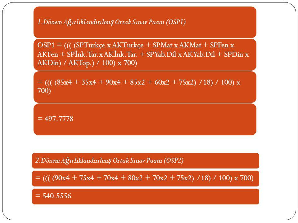 1.Dönem A ğ ırlıklandırılmı ş Ortak Sınav Puanı (OSP1) OSP1 = ((( (SPTürkçe x AKTürkçe + SPMat x AKMat + SPFen x AKFen + SP İ nk.Tar.x AK İ nk.Tar.