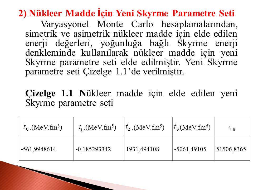 2) Nükleer Madde İçin Yeni Skyrme Parametre Seti Varyasyonel Monte Carlo hesaplamalarından, simetrik ve asimetrik nükleer madde için elde edilen enerji değerleri, yoğunluğa bağlı Skyrme enerji denkleminde kullanılarak nükleer madde için yeni Skyrme parametre seti elde edilmiştir.