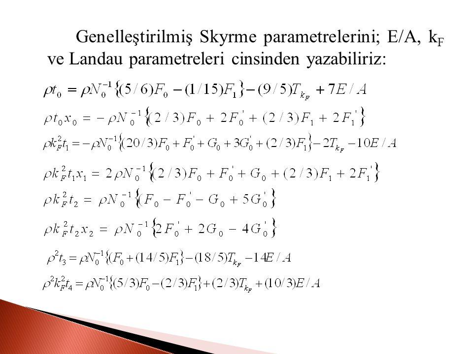 Genelleştirilmiş Skyrme parametrelerini; E/A, k F ve Landau parametreleri cinsinden yazabiliriz: