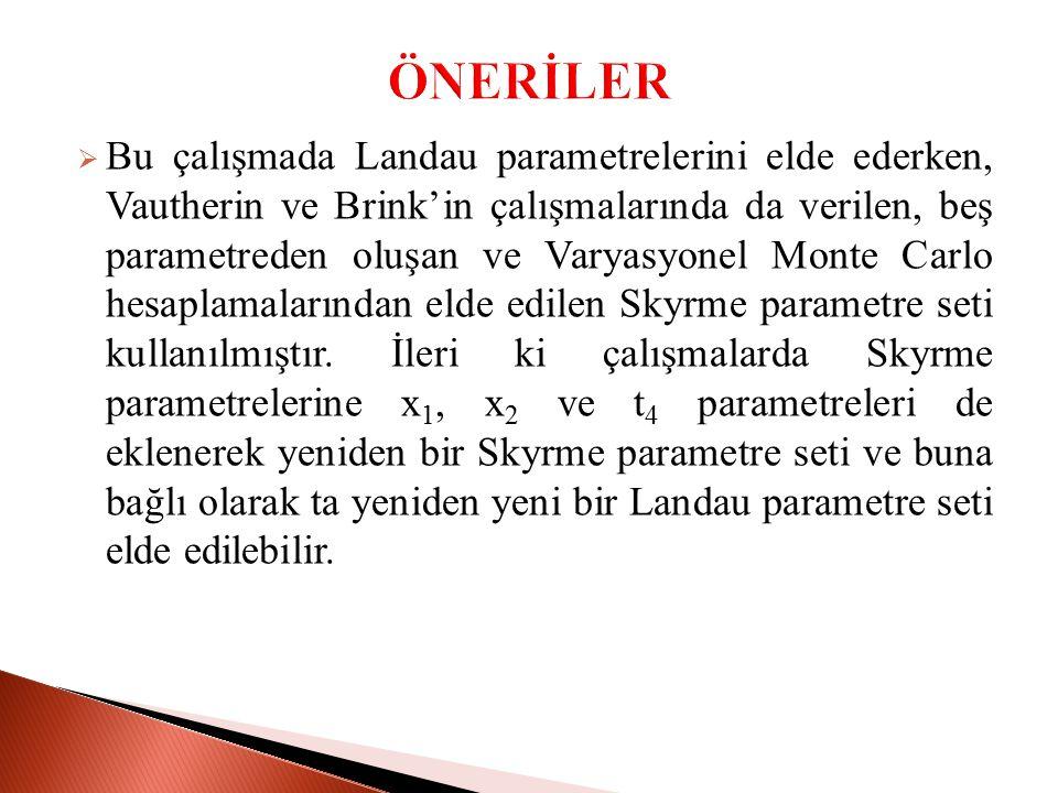  Bu çalışmada Landau parametrelerini elde ederken, Vautherin ve Brink'in çalışmalarında da verilen, beş parametreden oluşan ve Varyasyonel Monte Carlo hesaplamalarından elde edilen Skyrme parametre seti kullanılmıştır.