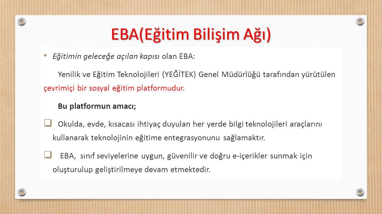 Eğitimin geleceğe açılan kapısı olan EBA: Yenilik ve Eğitim Teknolojileri (YEĞİTEK) Genel Müdürlüğü tarafından yürütülen çevrimiçi bir sosyal eğitim p