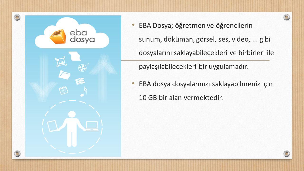 EBA Dosya; öğretmen ve öğrencilerin sunum, döküman, görsel, ses, video,... gibi dosyalarını saklayabilecekleri ve birbirleri ile paylaşılabilecekleri