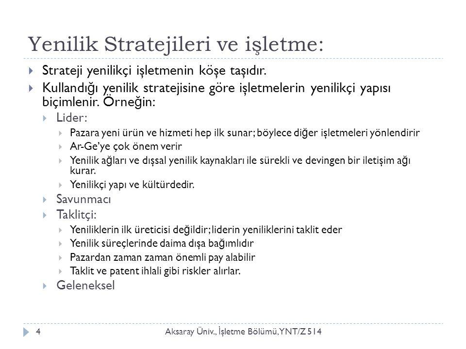 Yenilik Stratejileri ve işletme: Aksaray Üniv., İ şletme Bölümü, YNT/Z 5144  Strateji yenilikçi işletmenin köşe taşıdır.