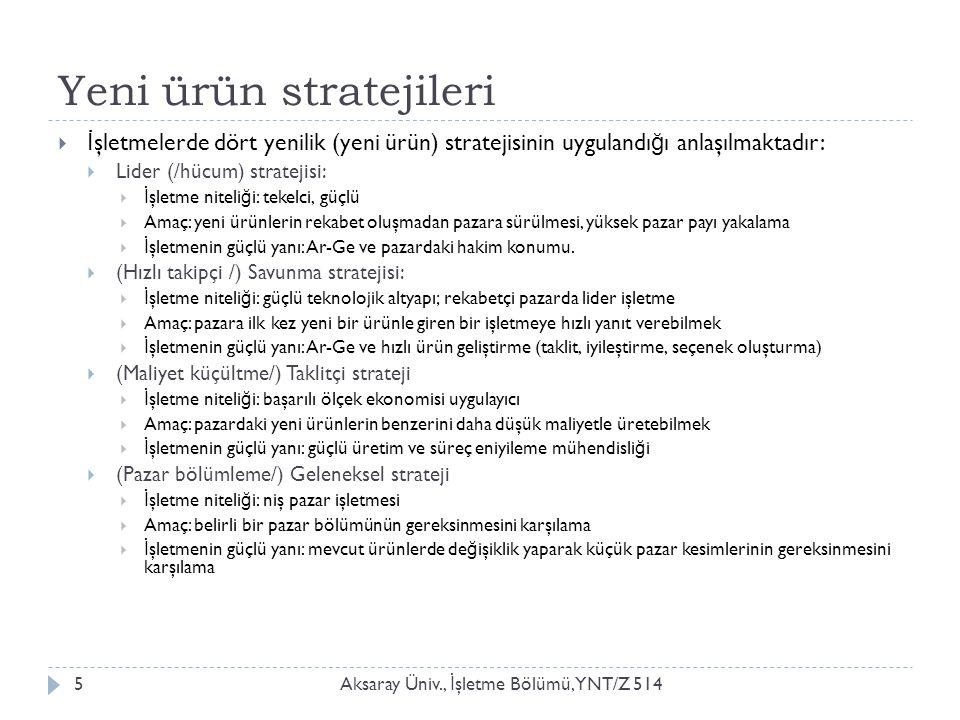 Yeni ürün stratejileri Aksaray Üniv., İ şletme Bölümü, YNT/Z 5145  İ şletmelerde dört yenilik (yeni ürün) stratejisinin uygulandı ğ ı anlaşılmaktadır:  Lider (/hücum) stratejisi:  İ şletme niteli ğ i: tekelci, güçlü  Amaç: yeni ürünlerin rekabet oluşmadan pazara sürülmesi, yüksek pazar payı yakalama  İ şletmenin güçlü yanı: Ar-Ge ve pazardaki hakim konumu.