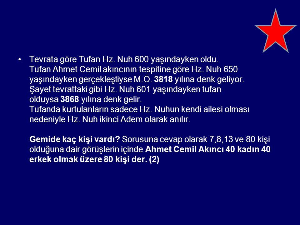 Tevrata göre Tufan Hz. Nuh 600 yaşındayken oldu. Tufan Ahmet Cemil akıncının tespitine göre Hz. Nuh 650 yaşındayken gerçekleştiyse M.Ö. 3818 yılına de