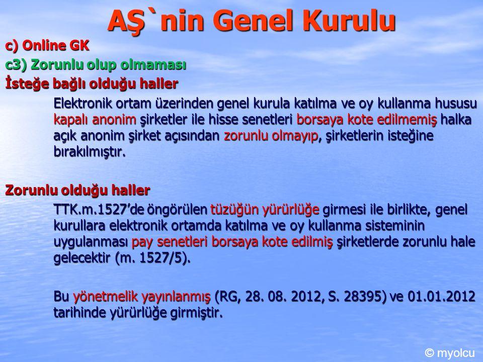 AŞ`nin Genel Kurulu c) Online GK c3) Zorunlu olup olmaması İsteğe bağlı olduğu haller Elektronik ortam üzerinden genel kurula katılma ve oy kullanma h