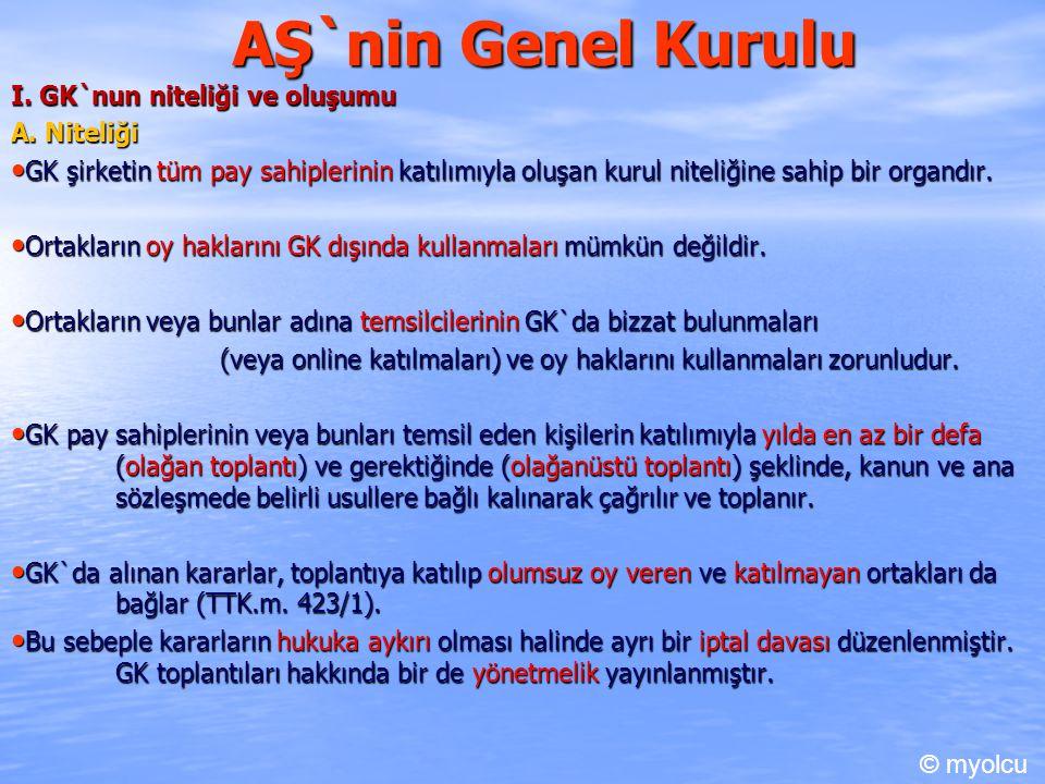 AŞ`nin Genel Kurulu I. GK`nun niteliği ve oluşumu A. Niteliği A. Niteliği GK şirketin tüm pay sahiplerinin katılımıyla oluşan kurul niteliğine sahip b