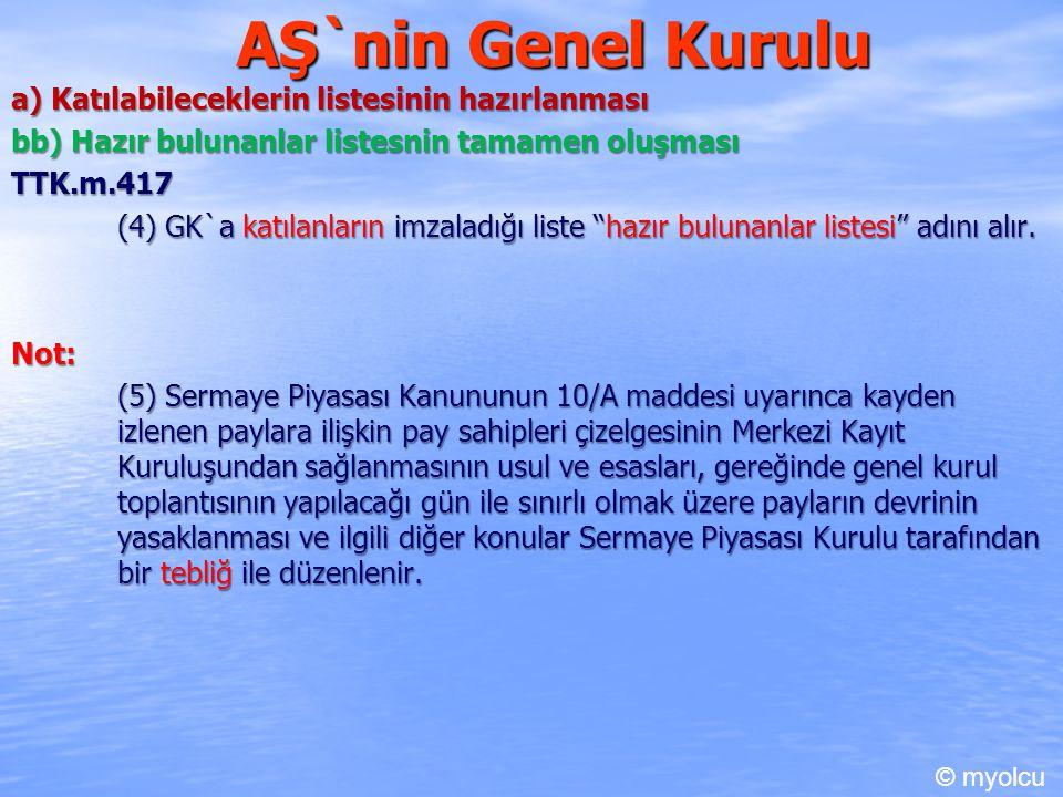 AŞ`nin Genel Kurulu a) Katılabileceklerin listesinin hazırlanması bb) Hazır bulunanlar listesnin tamamen oluşması TTK.m.417 (4) GK`a katılanların imza