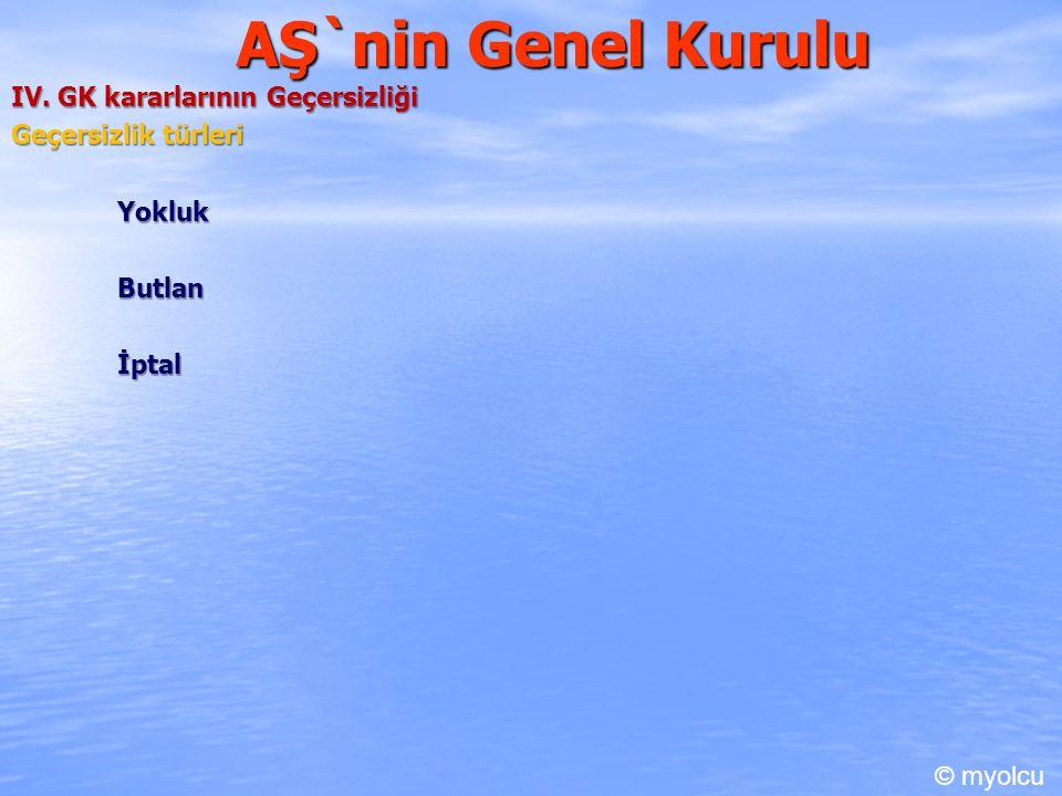 AŞ`nin Genel Kurulu IV. GK kararlarının Geçersizliği Geçersizlik türleri Yokluk Butlan İptal © myolcu