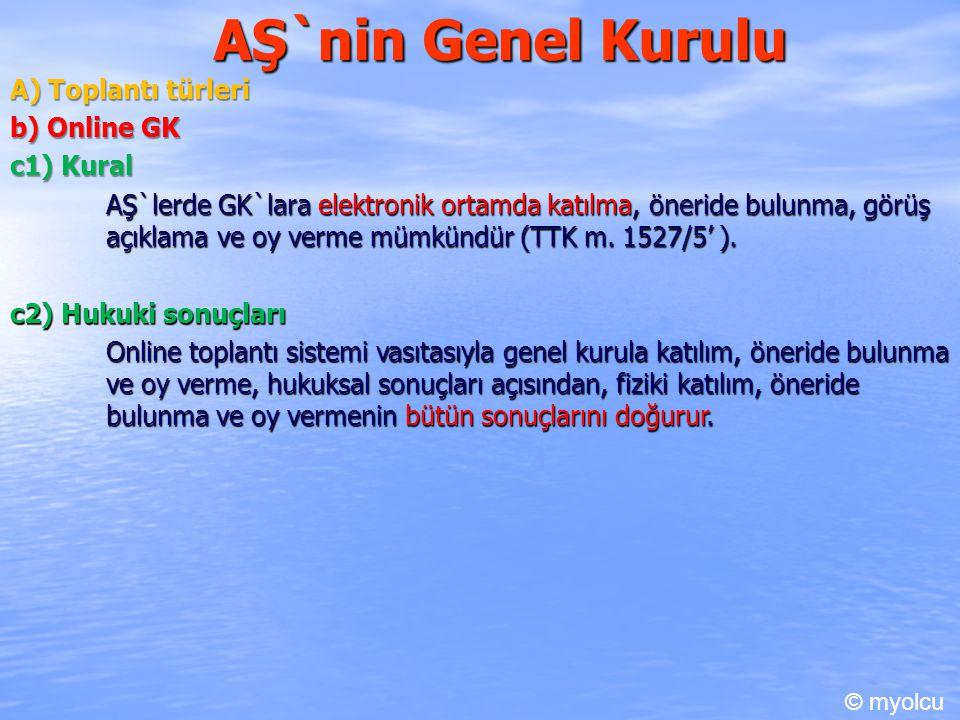 AŞ`nin Genel Kurulu A) Toplantı türleri b) Online GK c1) Kural AŞ`lerde GK`lara elektronik ortamda katılma, öneride bulunma, görüş açıklama ve oy verm