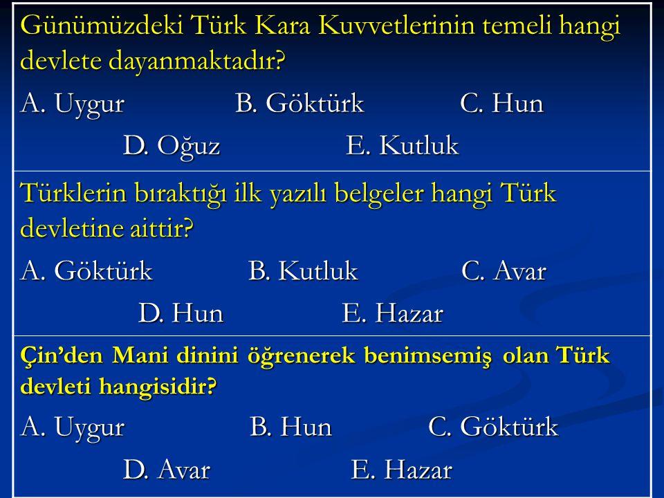 Günümüzdeki Türk Kara Kuvvetlerinin temeli hangi devlete dayanmaktadır.