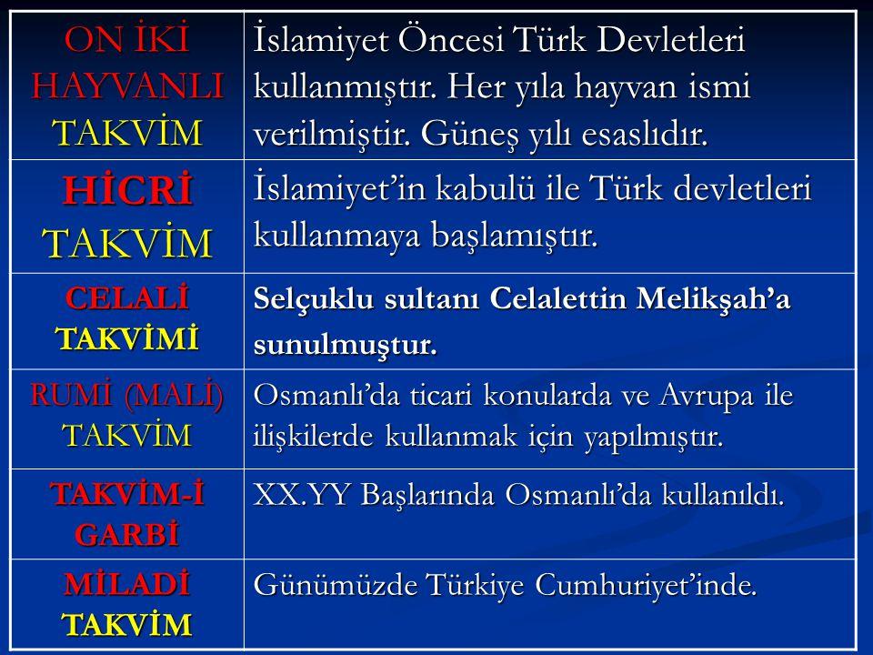 ON İKİ HAYVANLI TAKVİM İslamiyet Öncesi Türk Devletleri kullanmıştır. Her yıla hayvan ismi verilmiştir. Güneş yılı esaslıdır. HİCRİ TAKVİM İslamiyet'i