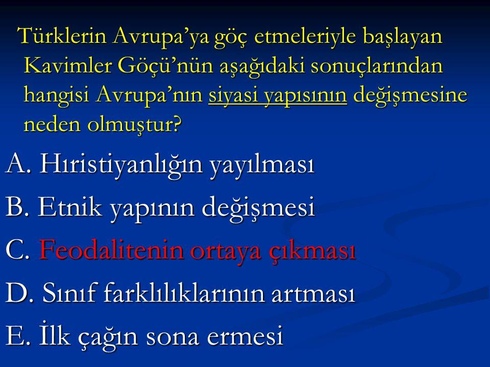 Türklerin Avrupa'ya göç etmeleriyle başlayan Kavimler Göçü'nün aşağıdaki sonuçlarından hangisi Avrupa'nın siyasi yapısının değişmesine neden olmuştur.