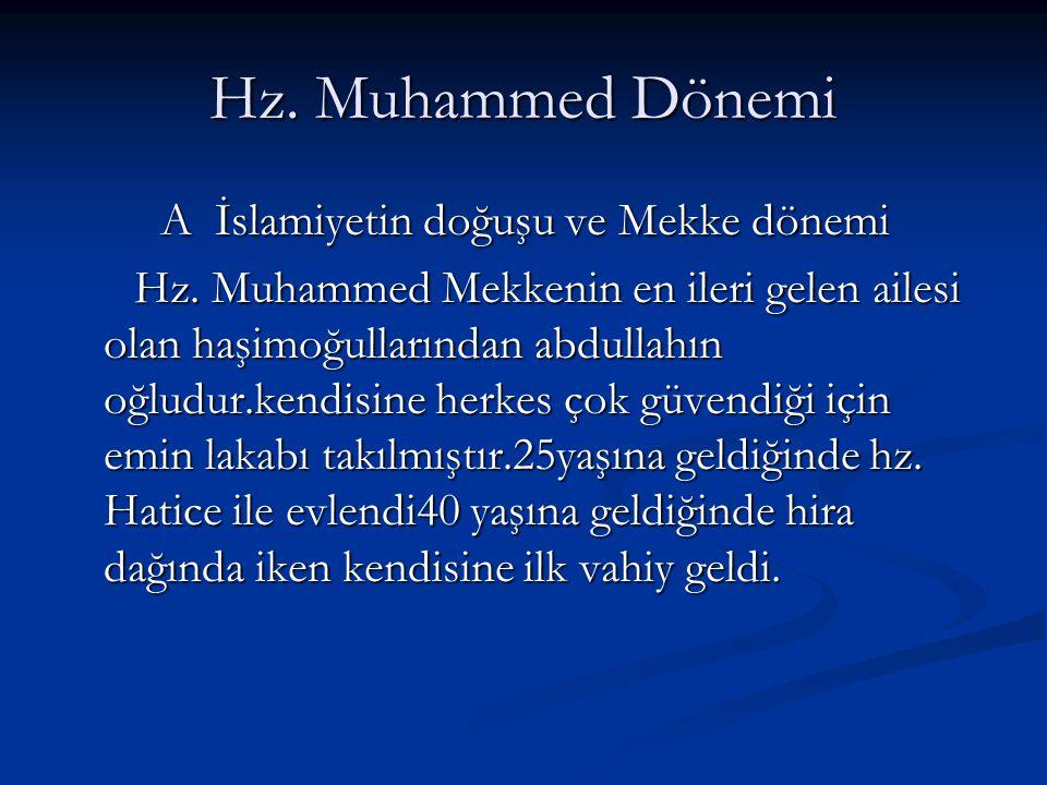 Hz.Muhammed Dönemi A İslamiyetin doğuşu ve Mekke dönemi Hz.