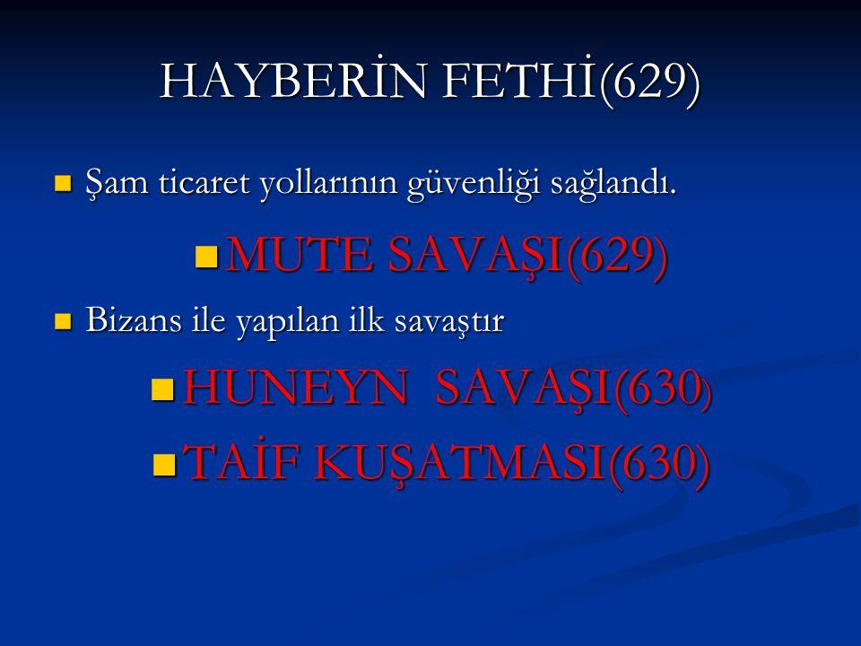 HAYBERİN FETHİ(629) Şam ticaret yollarının güvenliği sağlandı. Şam ticaret yollarının güvenliği sağlandı. MUTE SAVAŞI(629) MUTE SAVAŞI(629) Bizans ile