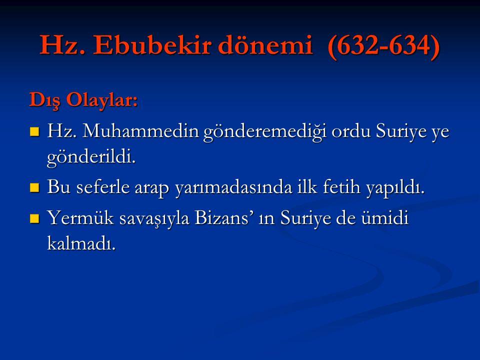 Hz. Ebubekir dönemi (632-634) Dış Olaylar: Hz. Muhammedin gönderemediği ordu Suriye ye gönderildi. Hz. Muhammedin gönderemediği ordu Suriye ye gönderi