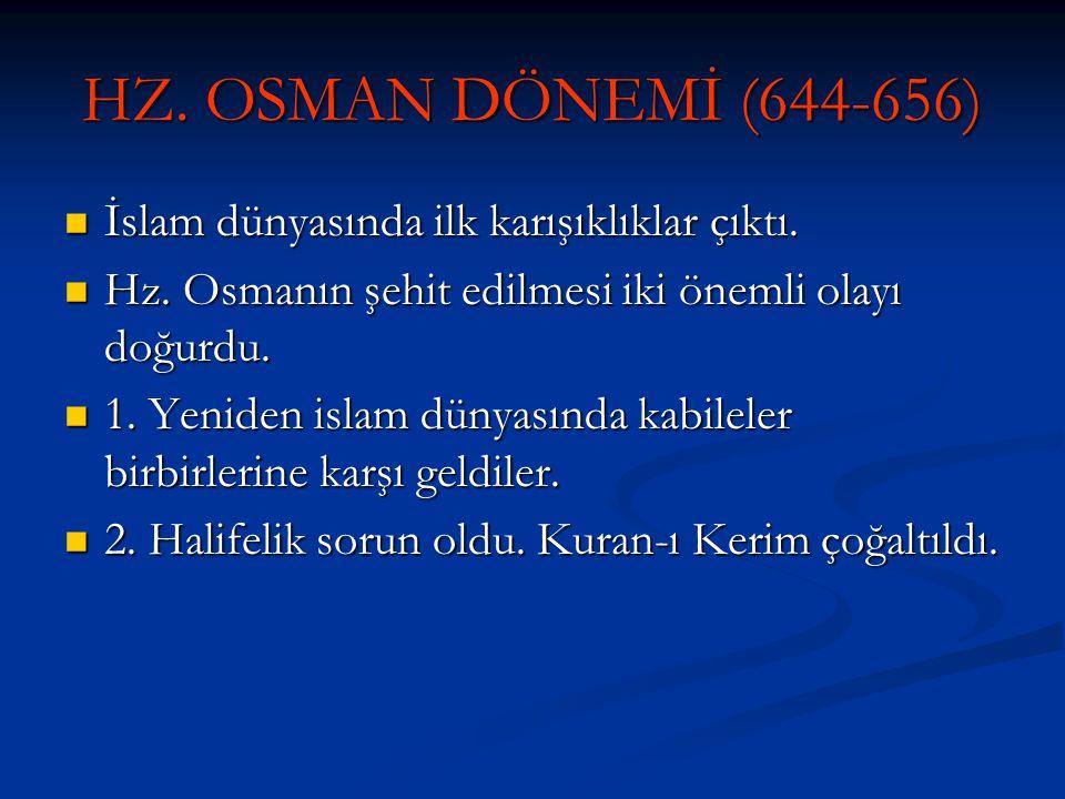 HZ. OSMAN DÖNEMİ (644-656) İslam dünyasında ilk karışıklıklar çıktı. İslam dünyasında ilk karışıklıklar çıktı. Hz. Osmanın şehit edilmesi iki önemli o