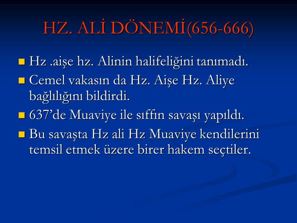 HZ. ALİ DÖNEMİ(656-666) Hz.aişe hz. Alinin halifeliğini tanımadı. Hz.aişe hz. Alinin halifeliğini tanımadı. Cemel vakasın da Hz. Aişe Hz. Aliye bağlıl