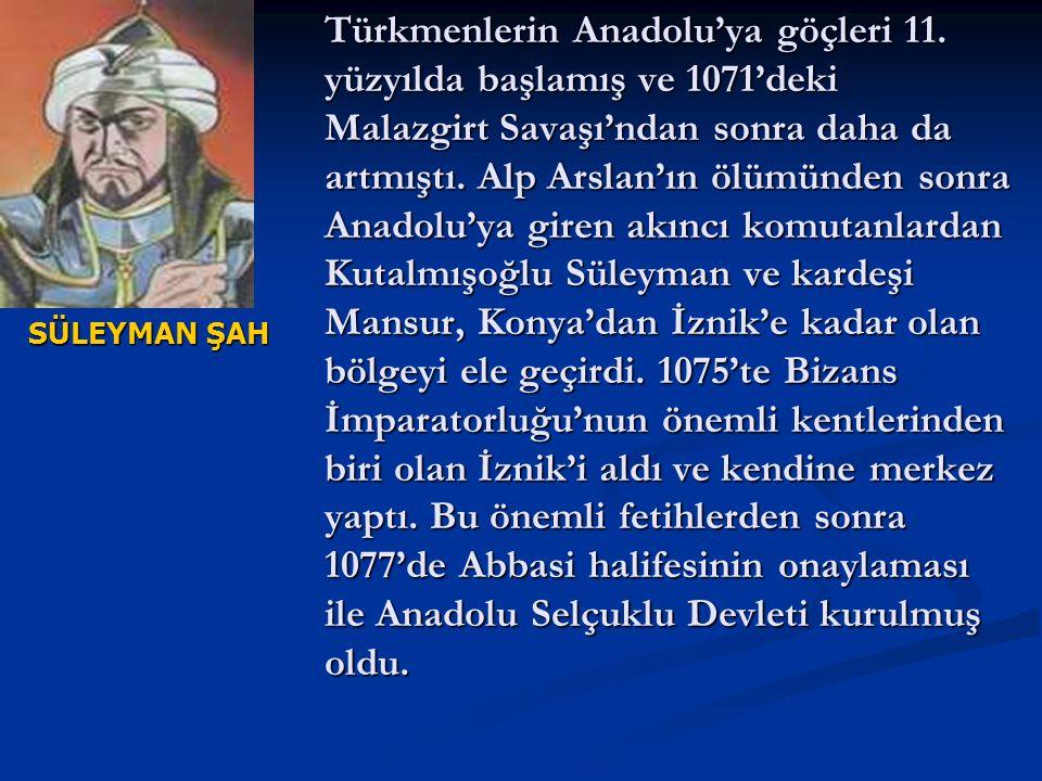 Türkmenlerin Anadolu'ya göçleri 11. yüzyılda başlamış ve 1071'deki Malazgirt Savaşı'ndan sonra daha da artmıştı. Alp Arslan'ın ölümünden sonra Anadolu