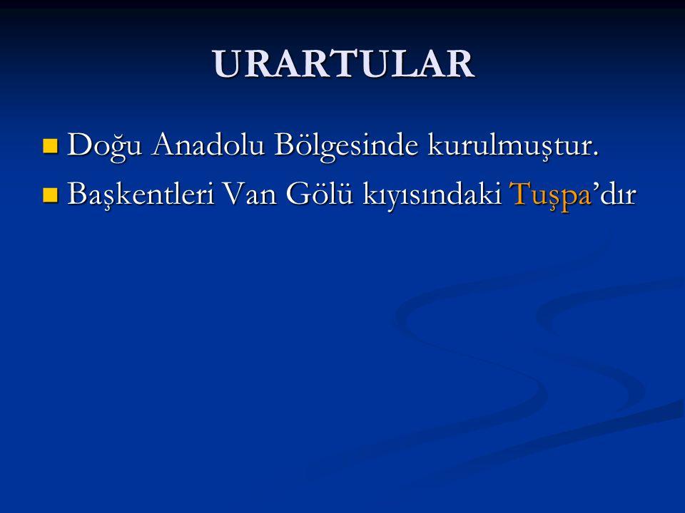 URARTULAR Doğu Anadolu Bölgesinde kurulmuştur.Doğu Anadolu Bölgesinde kurulmuştur.