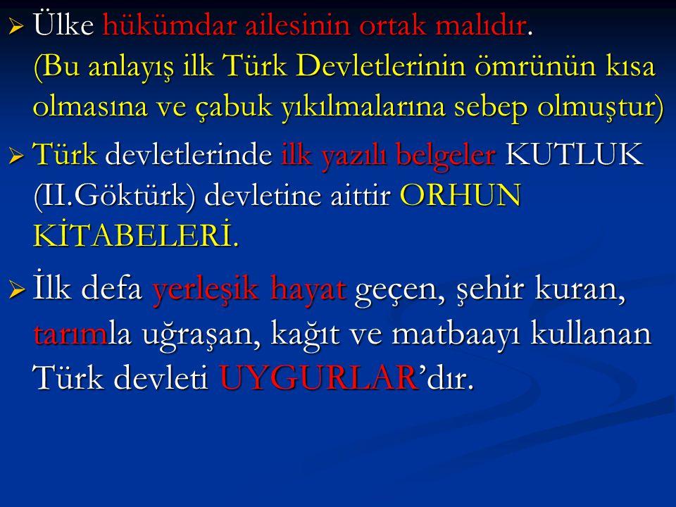  Ülke hükümdar ailesinin ortak malıdır. (Bu anlayış ilk Türk Devletlerinin ömrünün kısa olmasına ve çabuk yıkılmalarına sebep olmuştur)  Türk devlet