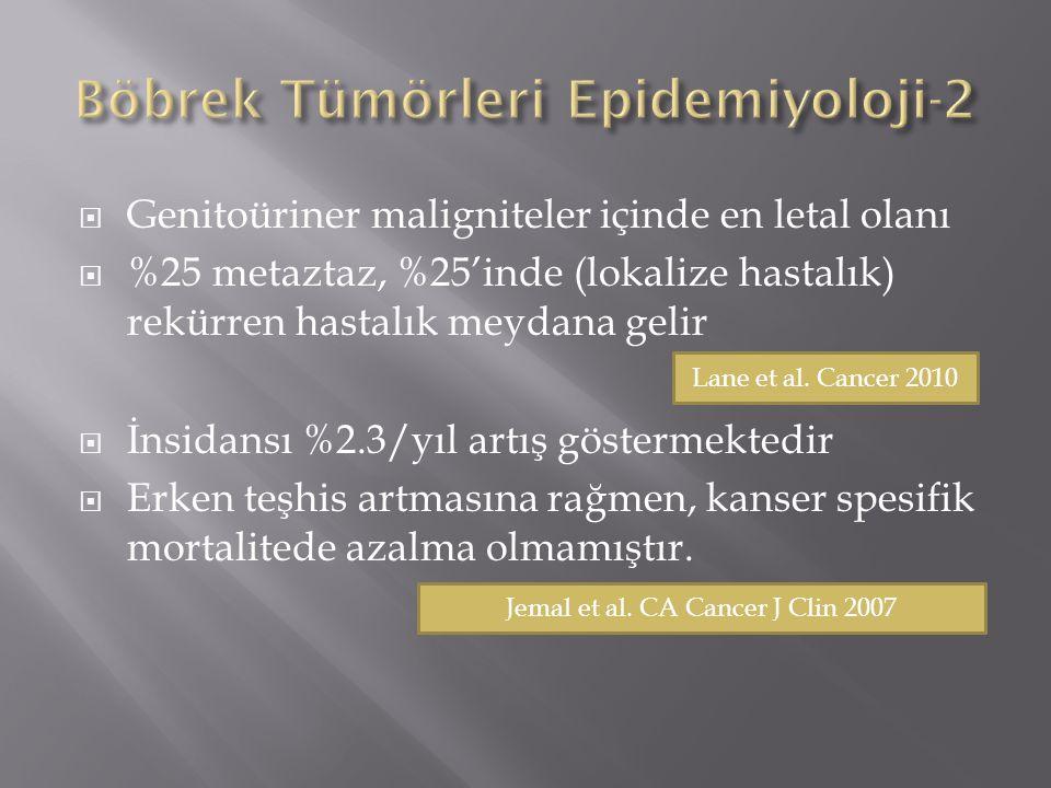  Genitoüriner maligniteler içinde en letal olanı  %25 metaztaz, %25'inde (lokalize hastalık) rekürren hastalık meydana gelir  İnsidansı %2.3/yıl artış göstermektedir  Erken teşhis artmasına rağmen, kanser spesifik mortalitede azalma olmamıştır.