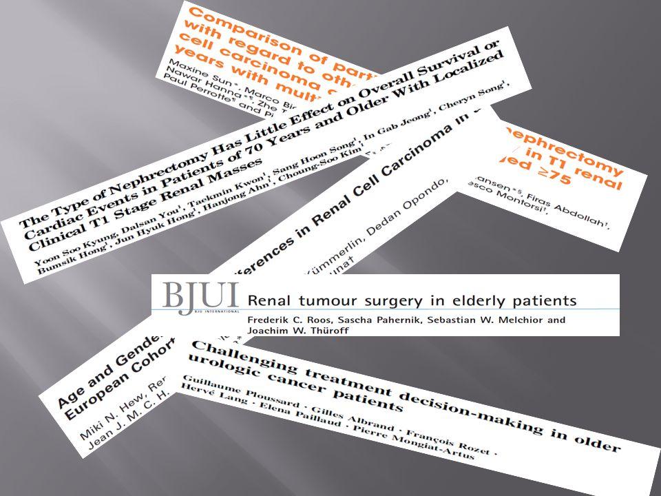  537 hasta, 2000-2006  T1a ve T1b RCC, ≤7 cm  Amaç cerrahi müdahalenin aktif izleme göre sağkalıma katkısının olup olmadığını göstermek  Aktif izlem %20  PN %53  RN %27 Cancer, 2010