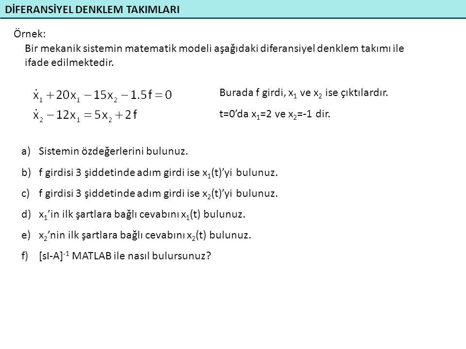 DİFERANSİYEL DENKLEM TAKIMLARI Örnek: Bir mekanik sistemin matematik modeli aşağıdaki diferansiyel denklem takımı ile ifade edilmektedir. Burada f gir
