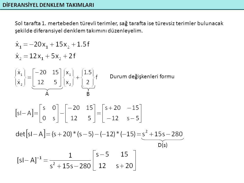 DİFERANSİYEL DENKLEM TAKIMLARI a) Özdeğerler D(s) polinomunun kökleridir.