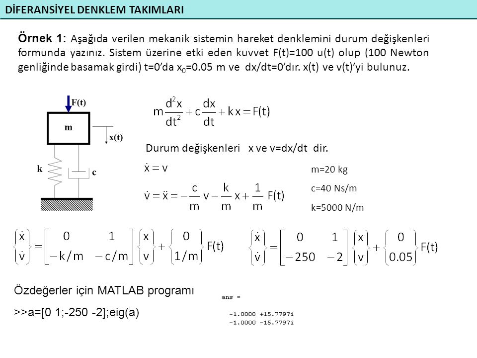 DİFERANSİYEL DENKLEM TAKIMLARI Örnek 1: Aşağıda verilen mekanik sistemin hareket denklemini durum değişkenleri formunda yazınız. Sistem üzerine etki e
