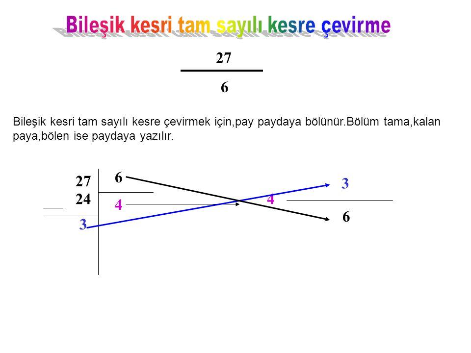 27 6 Bileşik kesri tam sayılı kesre çevirmek için,pay paydaya bölünür.Bölüm tama,kalan paya,bölen ise paydaya yazılır. 27 6 4 24 3 4 3 6