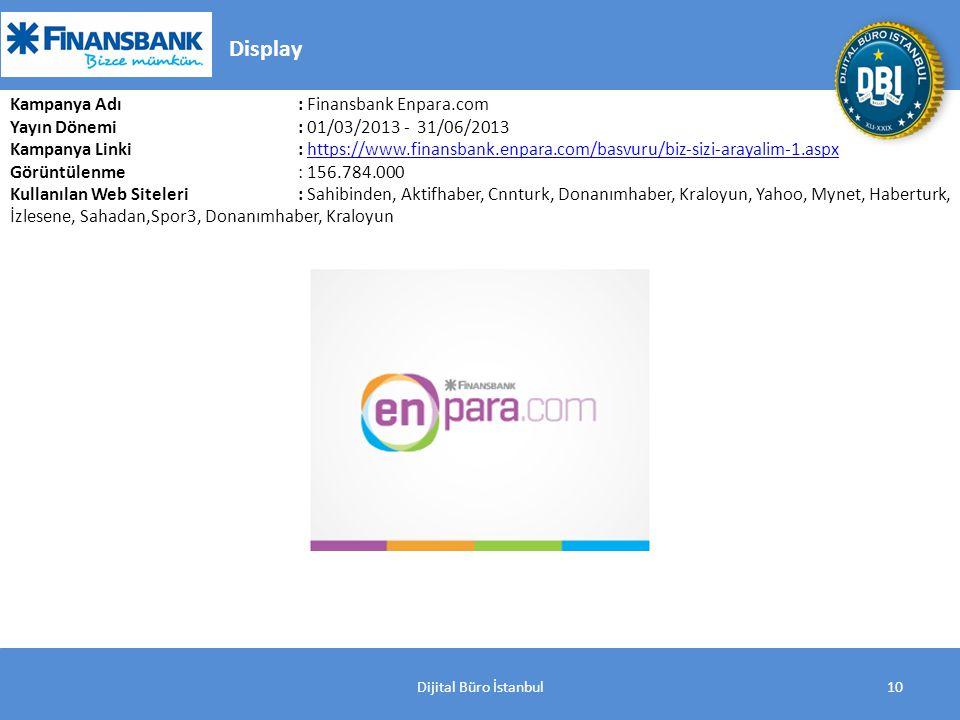 10 Display Kampanya Adı : Finansbank Enpara.com Yayın Dönemi: 01/03/2013 - 31/06/2013 Kampanya Linki : https://www.finansbank.enpara.com/basvuru/biz-sizi-arayalim-1.aspxhttps://www.finansbank.enpara.com/basvuru/biz-sizi-arayalim-1.aspx Görüntülenme: 156.784.000 Kullanılan Web Siteleri: Sahibinden, Aktifhaber, Cnnturk, Donanımhaber, Kraloyun, Yahoo, Mynet, Haberturk, İzlesene, Sahadan,Spor3, Donanımhaber, Kraloyun