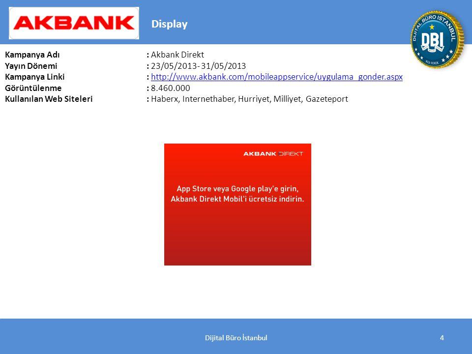 4 Kampanya Adı : Akbank Direkt Yayın Dönemi: 23/05/2013- 31/05/2013 Kampanya Linki: http://www.akbank.com/mobileappservice/uygulama_gonder.aspxhttp://www.akbank.com/mobileappservice/uygulama_gonder.aspx Görüntülenme: 8.460.000 Kullanılan Web Siteleri: Haberx, Internethaber, Hurriyet, Milliyet, Gazeteport Display