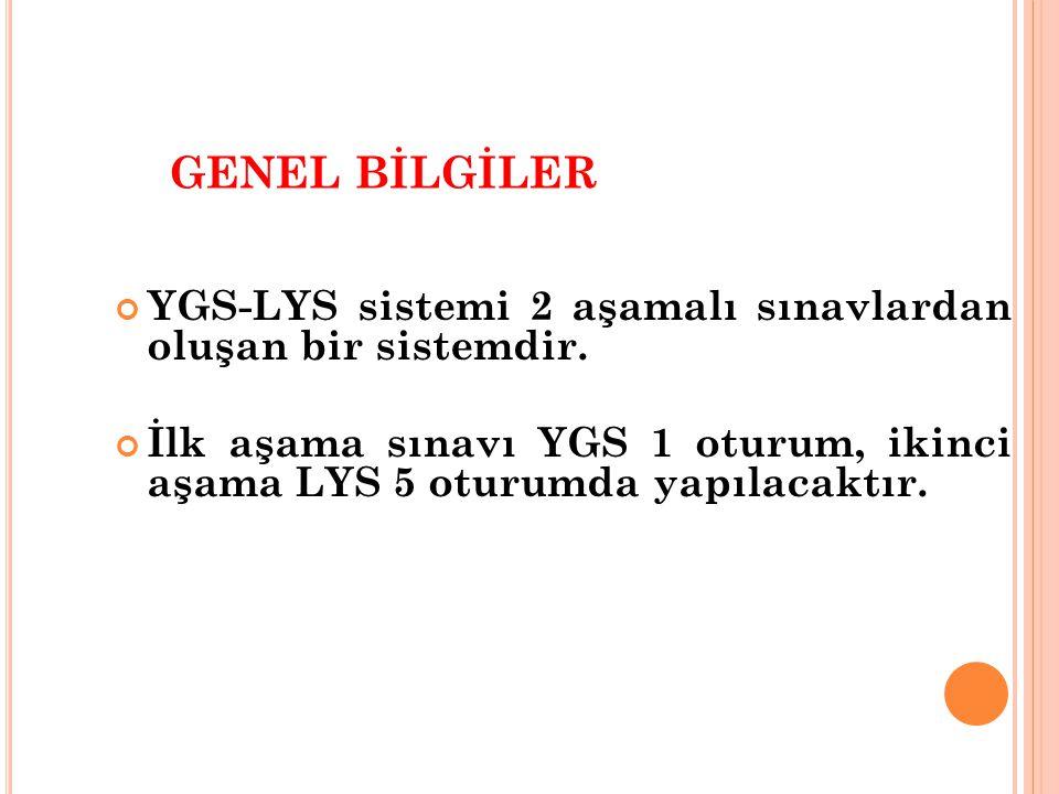 GENEL BİLGİLER YGS-LYS sistemi 2 aşamalı sınavlardan oluşan bir sistemdir.